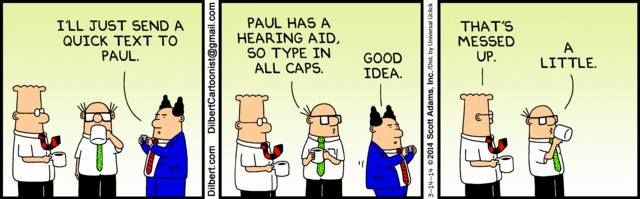 Image result for dilbert hearing loss