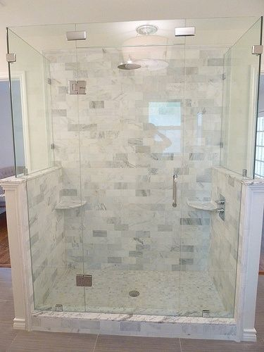 Renovation Master Bathroom Carrera Marble Frameless Glass Shower Subway Tile Cute Decor Shower Renovation Marble Shower Tile Shower Tile