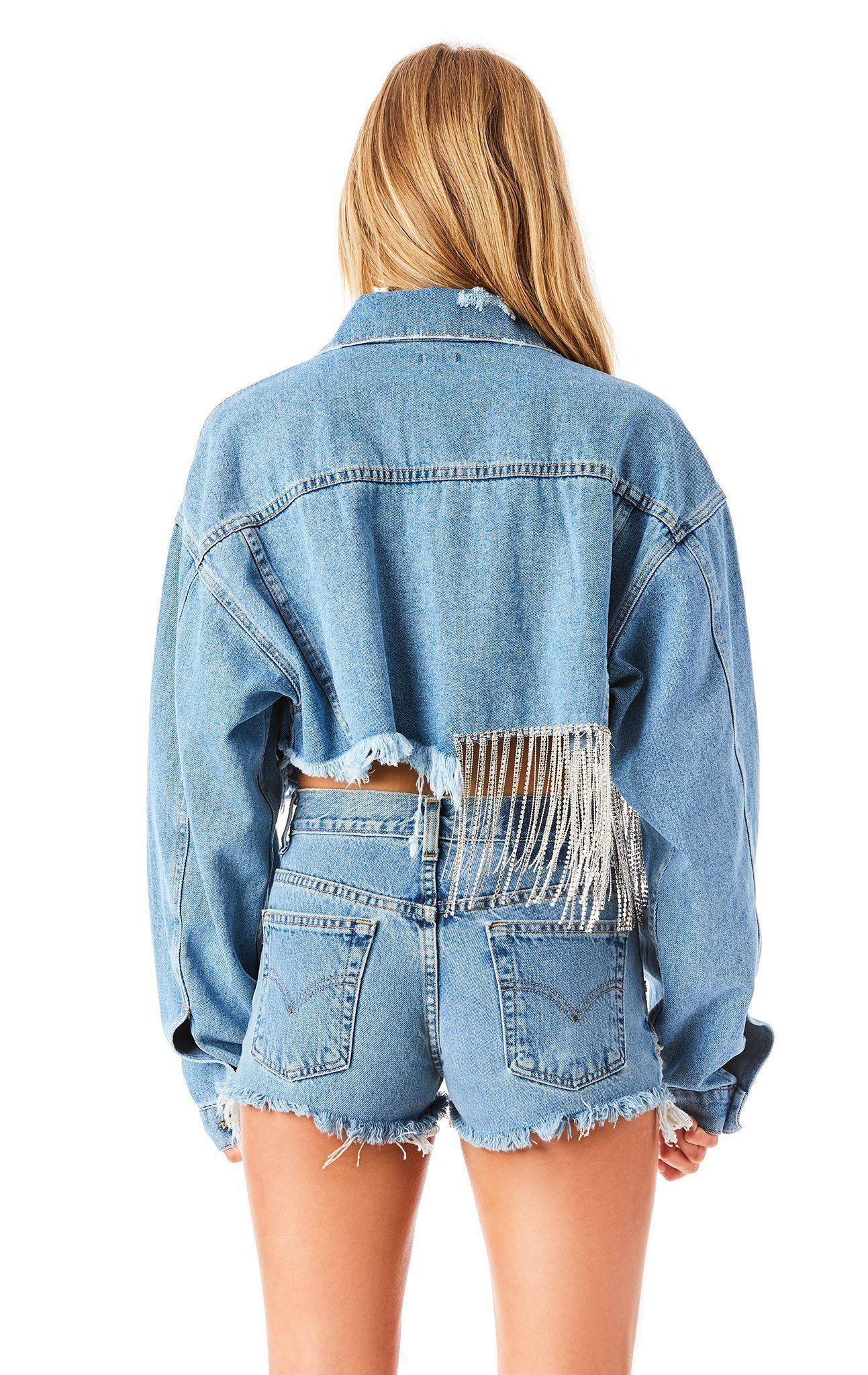 Audrey Mystic Rhinestone Fringe Crop Denim Jacket Diy Denim Jacket Denim Jacket Cropped Denim [ 2048 x 1293 Pixel ]