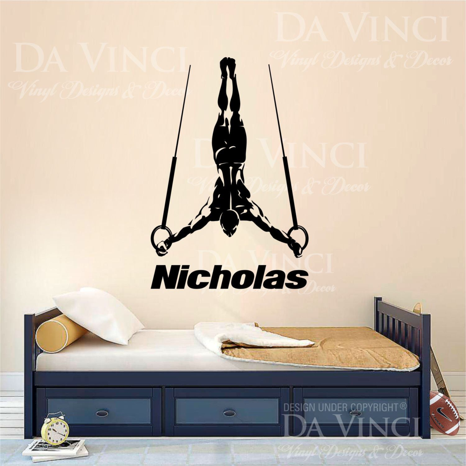 Gymnast Gymnastics Rings Boy Custom Name Wall Personalized Vinyl Sticker  Decor