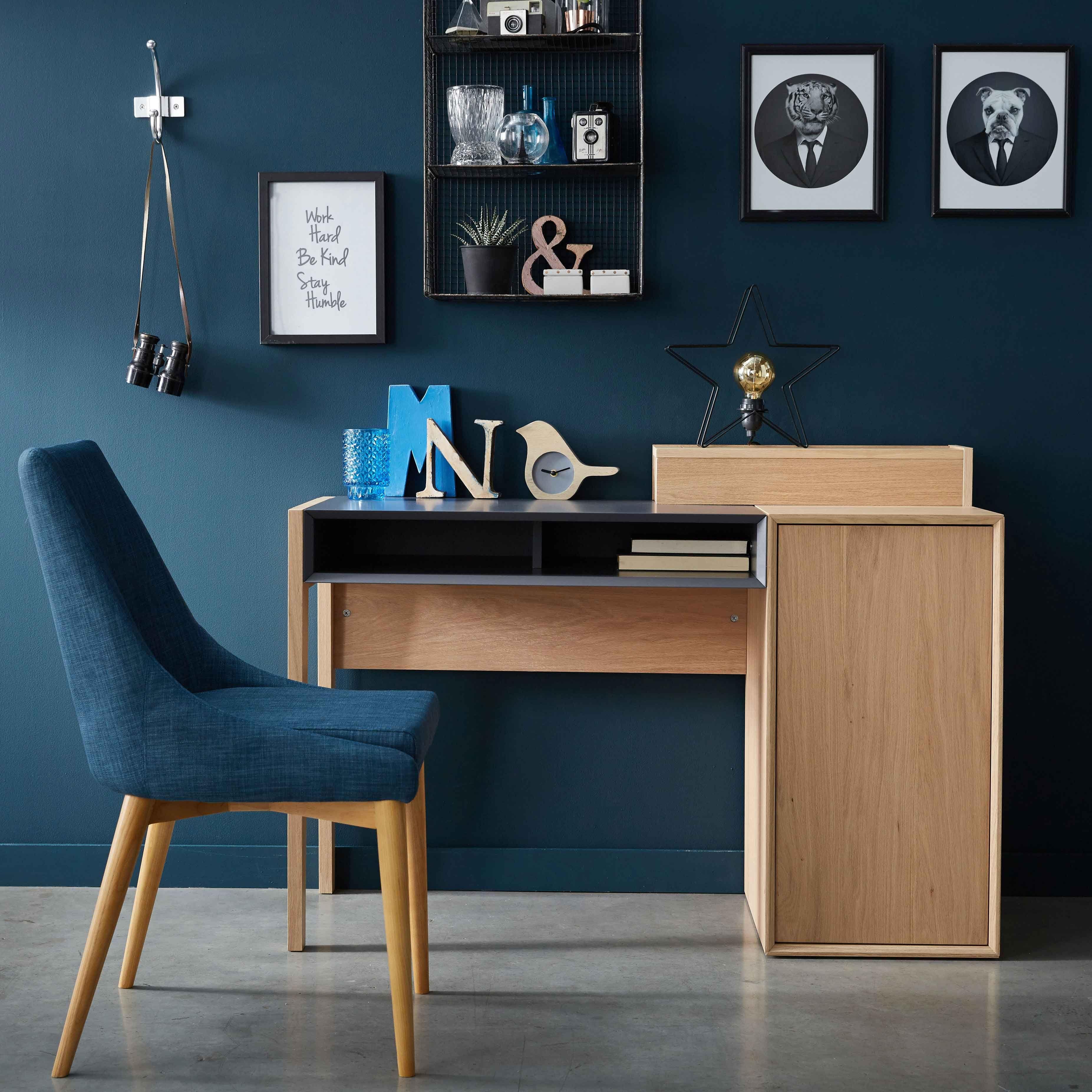 Marcia Bureau Avec Caisson Et Niche Coloris Chene Clair Et Gris Decoration Deco Maison Alinea Deco Maison Decoration Maison Pieces Bleues