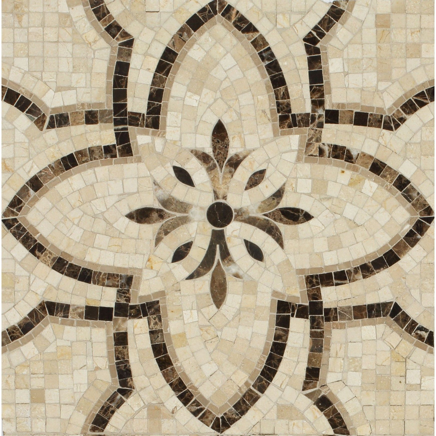 Shop For Primrose Crema Marfil And Dark Emperador Marble Tile At Tilebar Com Handmade Mosaic Mosaic Master Bath Remodel