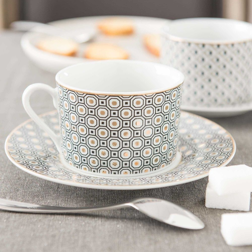 Tasses et soucoupes th en porcelaine or kate maisons du monde with maison du monde tasse - Tasse maison du monde ...