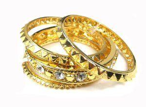 FASHION MODERN GOLD SPIKE RHINESTONE BANGLE BRACELET SET Troy Designs. $19.00