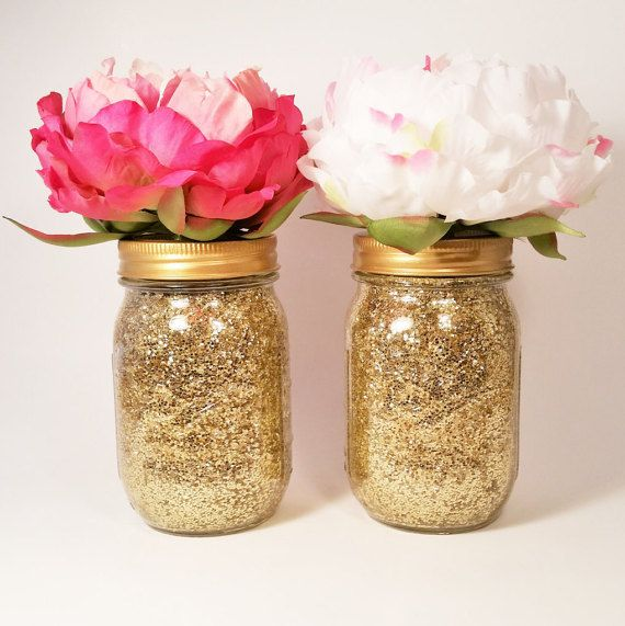 Gold Mason Jar Centerpiece : Mason jar centerpiece wedding baby shower