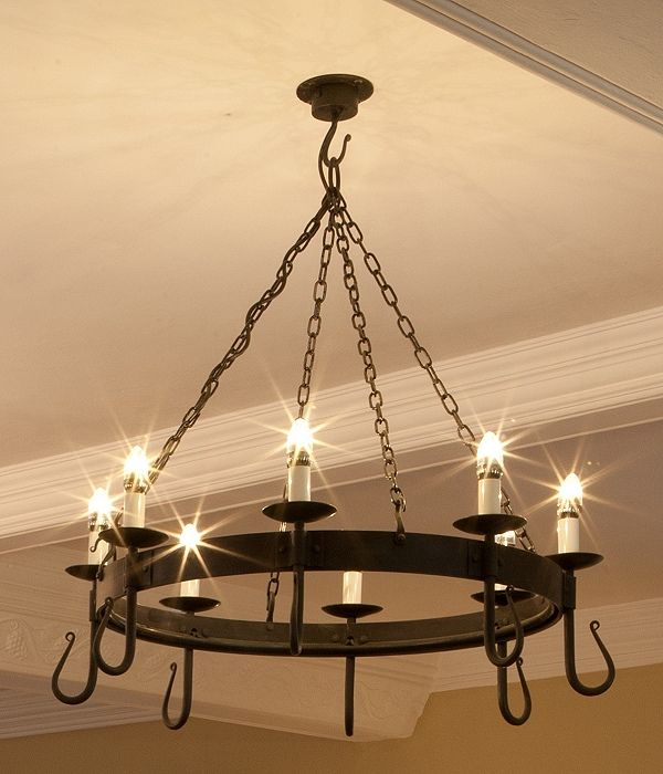 Shepherds crook 8 light round wrought iron chandelier in natural shepherds crook 8 light round wrought iron chandelier in natural black with ivory candle tubes aloadofball