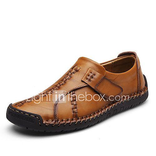 Hombre Zapatos Cuero Sintético Otoño Confort Zapatos de taco bajo y Slip-On Negro / Color Camello / Caqui 1bJ9T3T