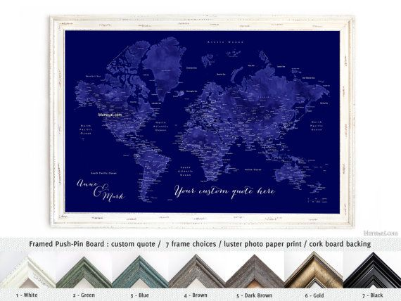 Personalized couple gift framed push pin board navy blue world map personalized couple gift framed push pin board navy blue world map pinboard travel pinboard map with cities custom quote map141 175 christmas gift for gumiabroncs Gallery