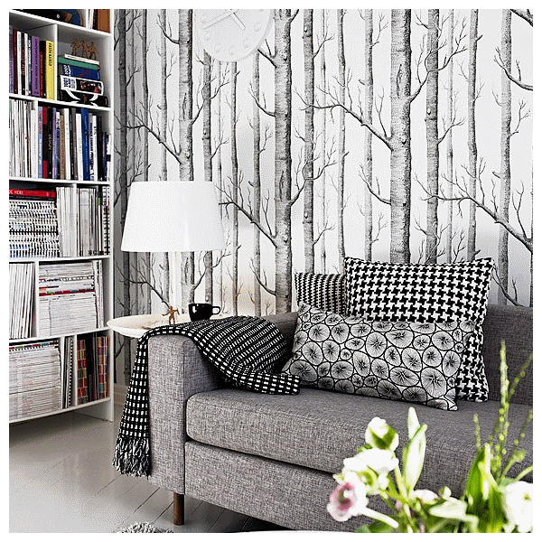 papier peint - cole and son - woods - white & black | home