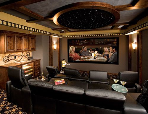 This Home Theater Even Has A Stocked Concession Stand! Home Cinema System  With Elite Screens Spectrum Electric Projection Screen