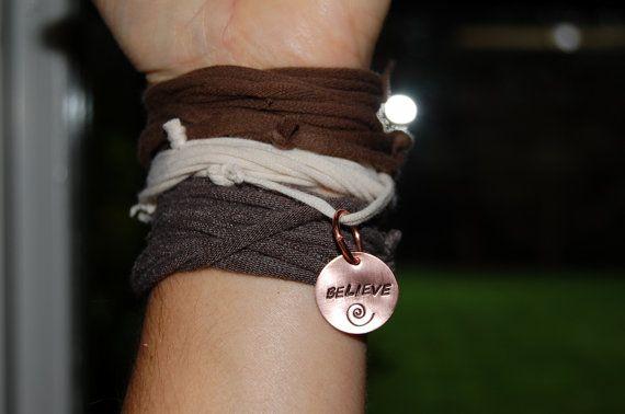 Upcycled t-shirt bracelet