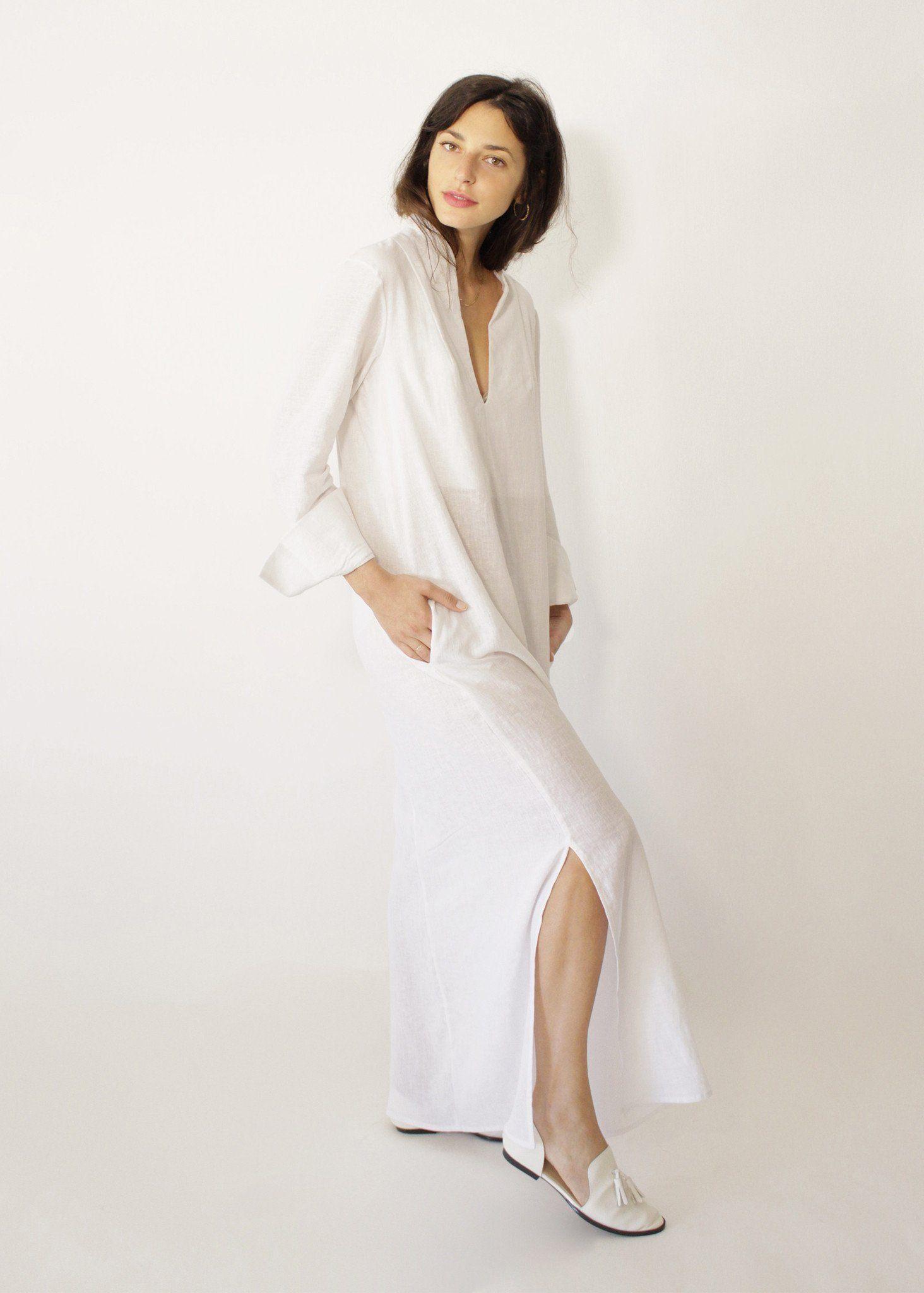Sofia White Linen Dress