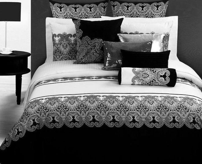 98 7us Black White Style Bedding Set Retro Printed Home Textile Comforter Duvet Cover Queen King Size 4pcs Bedclothes Bed Sheet Cotton Cotton Elastan Cotton Cheap Bedding Sets White Bed Set Bedding Sets