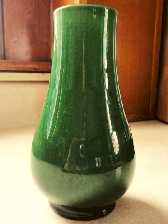Antique Japanese Awaji Green Pottery Vase By Yardsaledream On Etsy