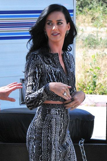 Let's Wind it Back: Katy Perry filmed scenes from Comedy Central's Kroll Show in LA on Tuesday.