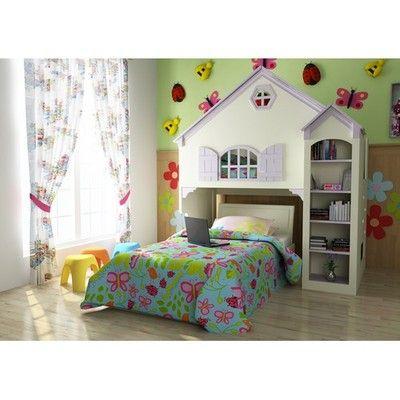 Girls Dollhouse Loft Bunk Bed Bedroom Set Book Shelves Storage Shelf