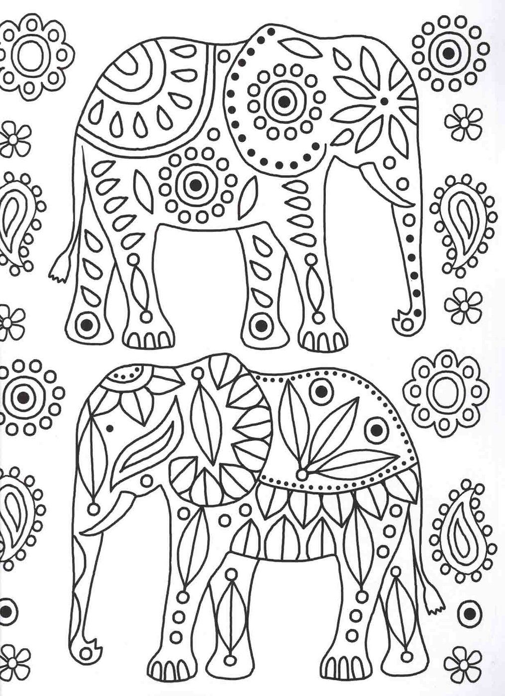Elephants Colouring Page Patterns Coloring Book Patrones Para