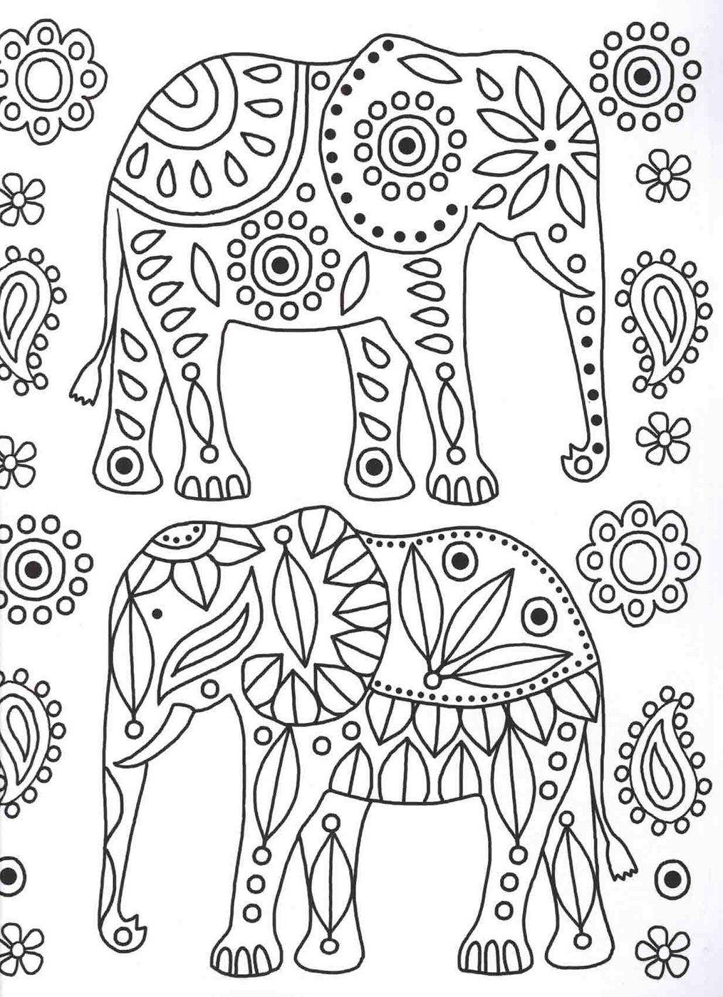 Elephants colouring page |Patterns Coloring Book | Terapia de color ...