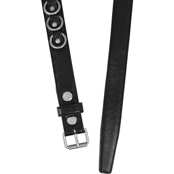 Saint Laurent Embellished glossed-leather belt ($520) ❤ liked on Polyvore featuring accessories, belts, real leather belts, 100 leather belt, yves saint laurent belt, real leather studded belt and leather belt