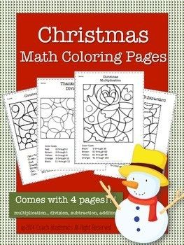 Christmas Math Coloring Pages | Christmas math, Fun math ...