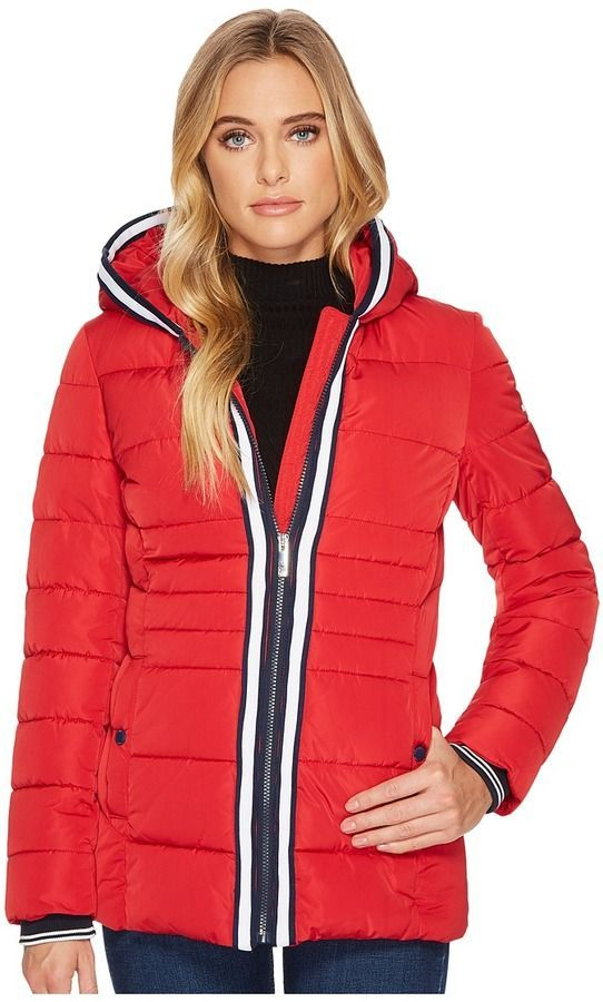 Tommy Hilfiger Zip Front Horizontal Puffer with Hood  14f262f8d1