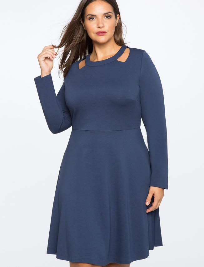 6b0b659994c ELOQUII Cut Out Neckline Fit and Flare Dress