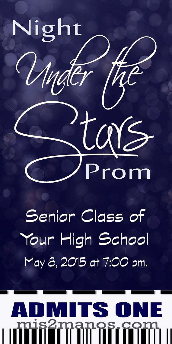 Under The Stars Graduation Ticket Or Prom Party By M2MPartyDesigns   Prom  Tickets Design  Prom Tickets Design
