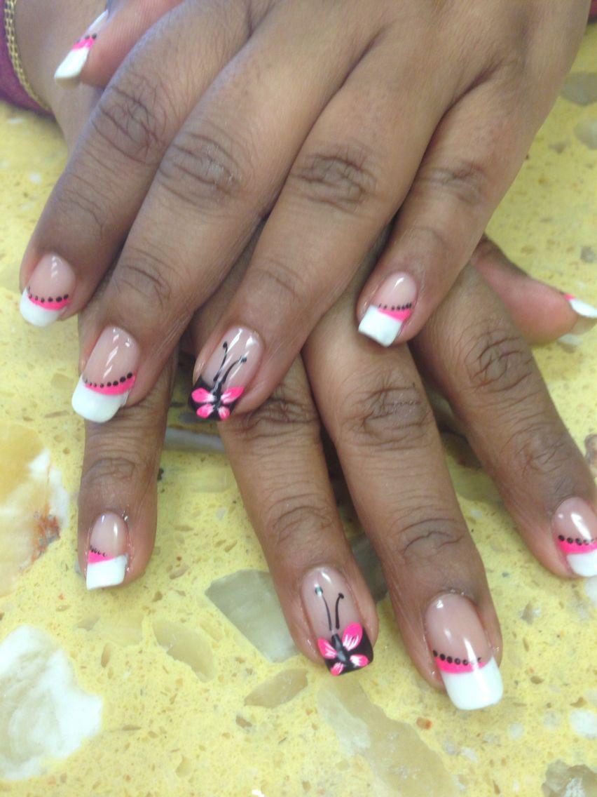 White tip nail design | White tip design | Pinterest