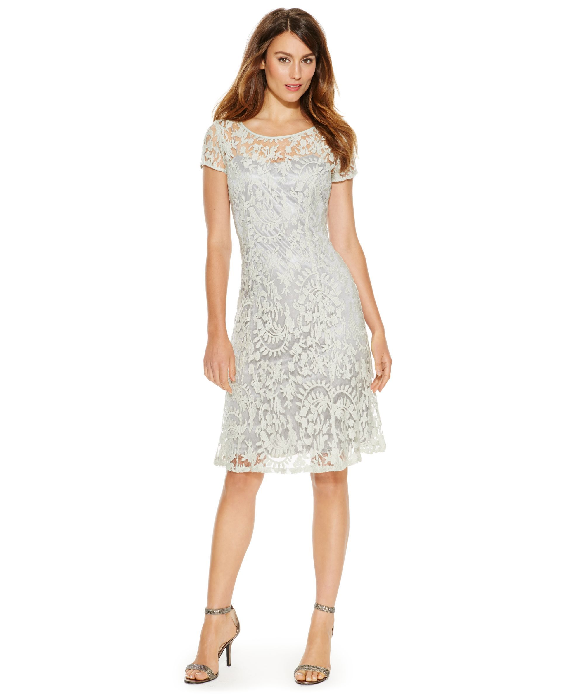 Adrianna Papell Illusion-Lace Cap-Sleeve Dress | Products ...