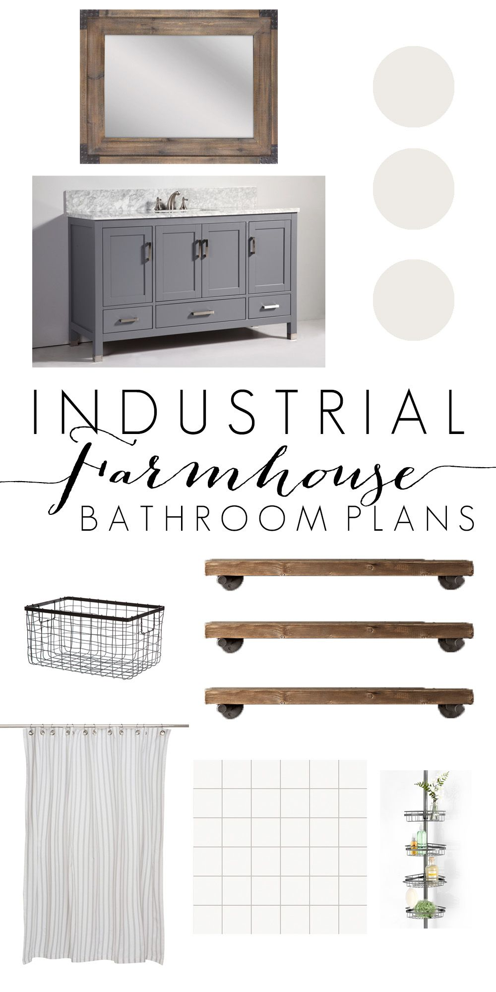 Industrial Farmhouse Bathroom Inspiration - Cherished Bliss #industrialfarmhouse