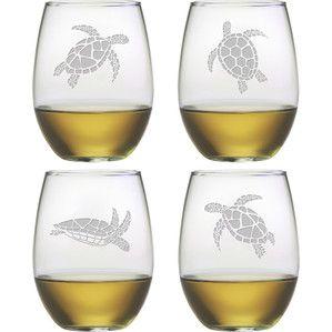 Turtle Stemless Wine Glass (Set of 4)