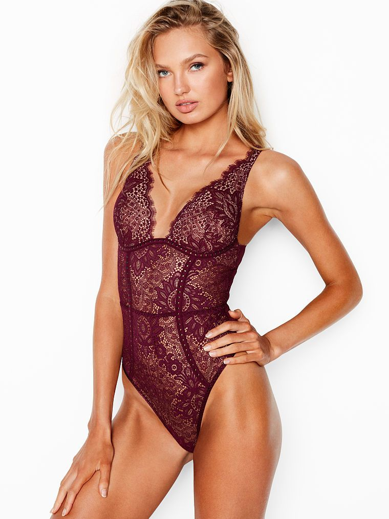 d5aa2ee8a Embellished Lace Plunge Teddy