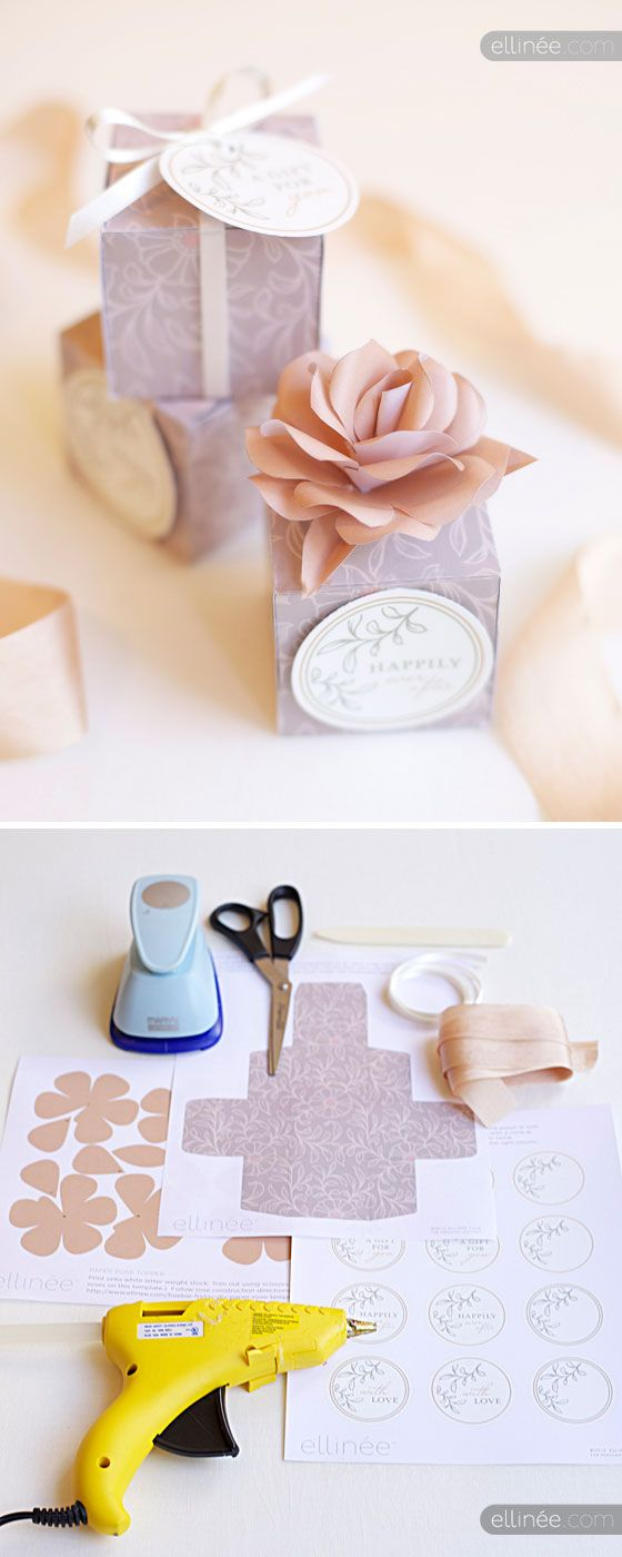Favor wedding Box + Tag + Flower - Free PDF Printables from Ellinée, whose printables are so gorgeous.