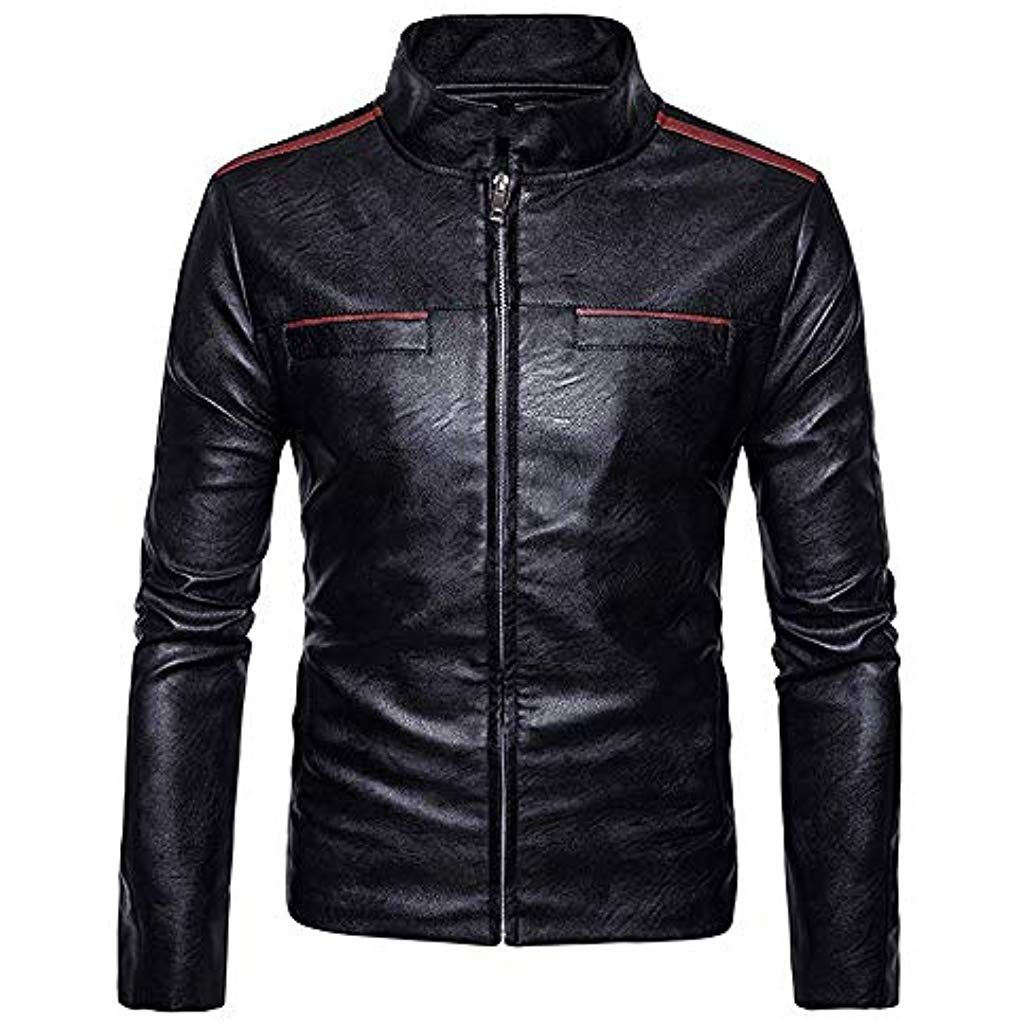 mens imitation leather coat symmetrical stitching zipper on men s insulated coveralls cheap id=90692
