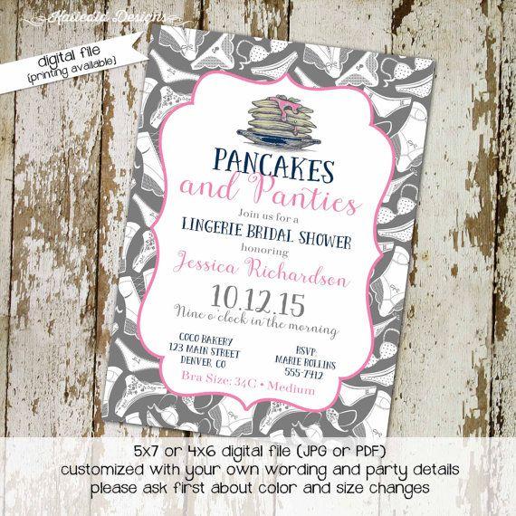 0d27d1201ebf bridal shower invitation pancakes and panties lingerie panty brunch  bachelorette hen party wedding invite evite couples coed bash (item 326) ...