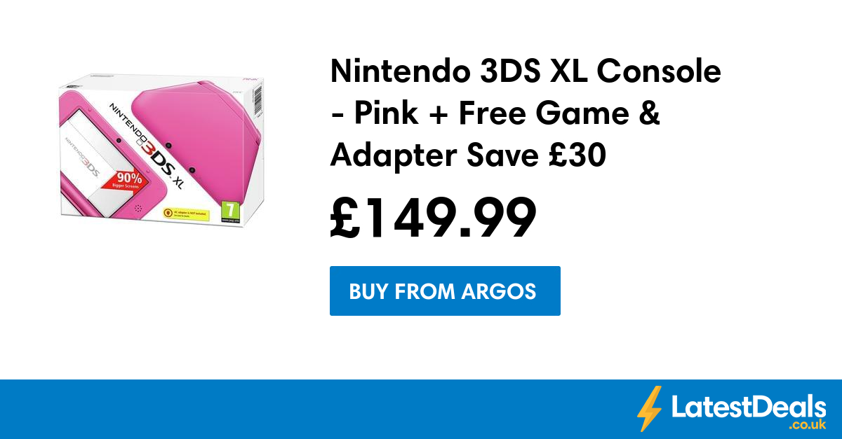 Nintendo 3DS XL Console Pink + Free Game & Adapter Save