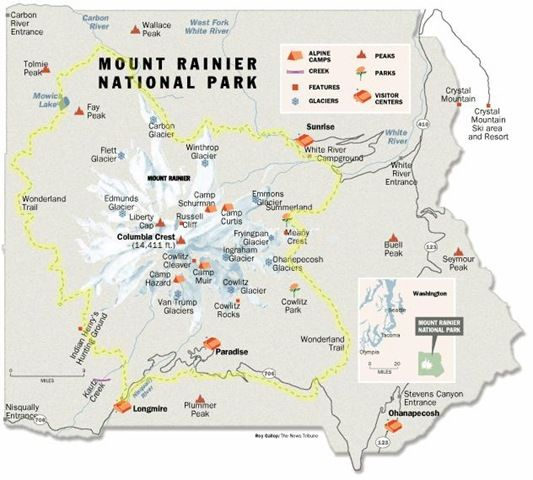 Mt Rainier National Park Trails Map Takes about a week to 2 weeks