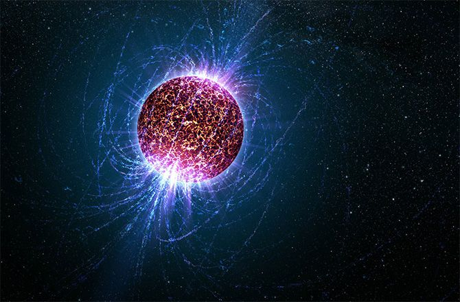 Artist%u2019s impression of a pulsar, including the extreme magnetic field surrounding the dense stellar object.
