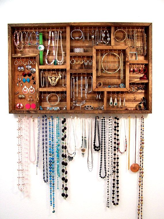 Earring Holder Jewelry Organizer Display case Barn wood and Box