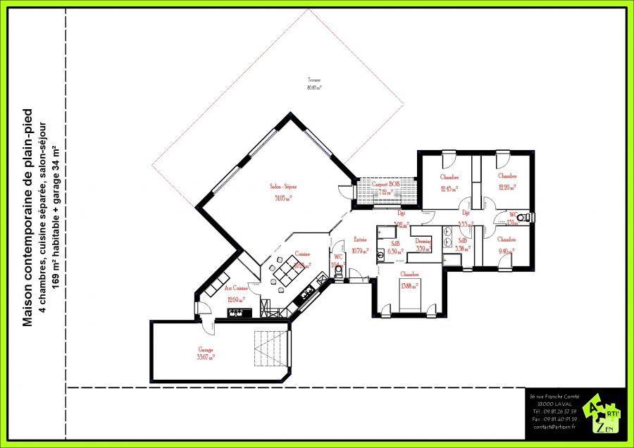 Plans 3d nouveau projet plain pied in 2019 plan maison 4 chambres maison plan maison - Plan maison plein pied moderne ...