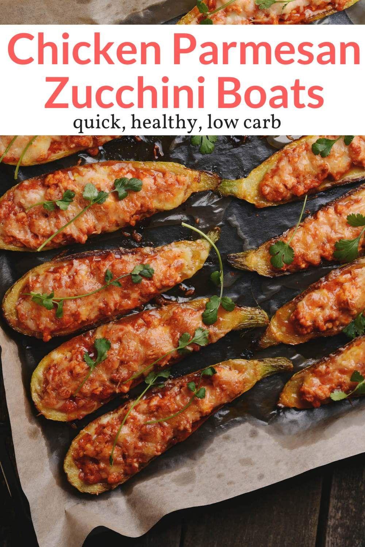Chicken Parmesan Zucchini Boats #chickenparmesan