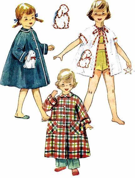 Girls Robe Pattern Bunny Transfer 1950s Simplicity by patternshop, $14.99