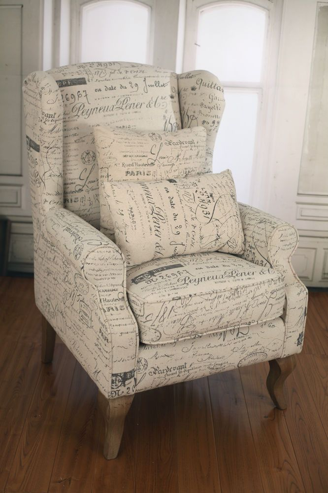 French script linen wingback chair brand new hardwood