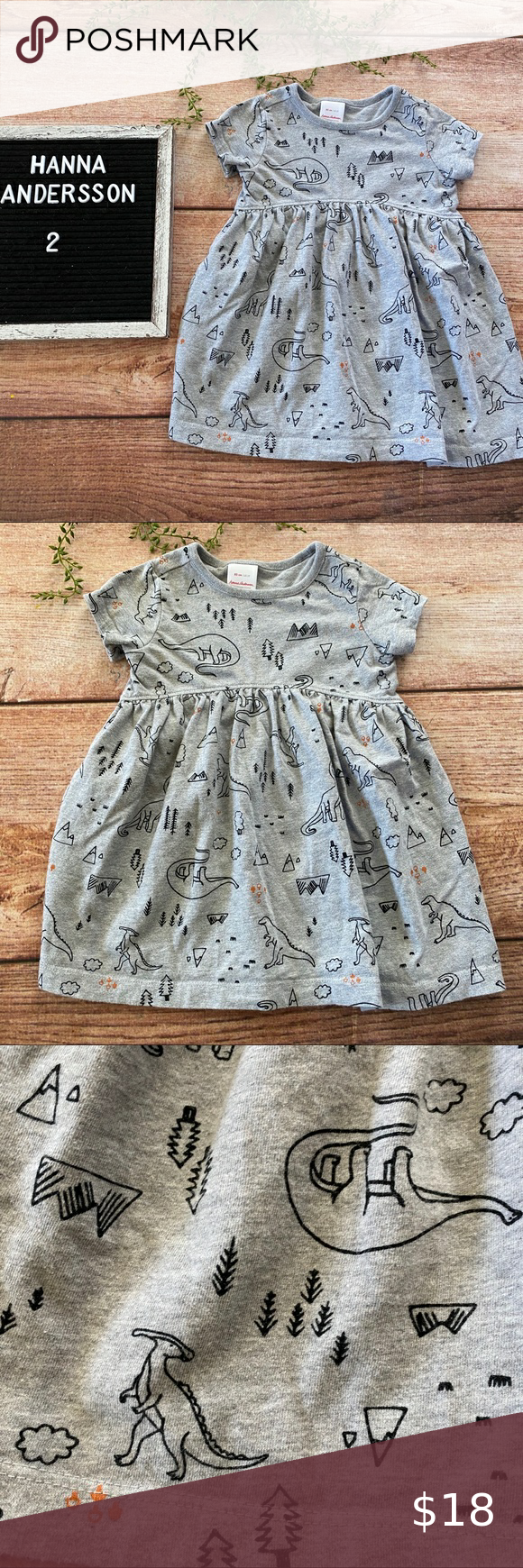 Hanna Andersson Gray Dinosaur dress 2 years Gray short sleeve Hanna Andersson dress with all over dinosaur print. Size 2 years in very good used condition (J0830) Hanna Andersson Dresses
