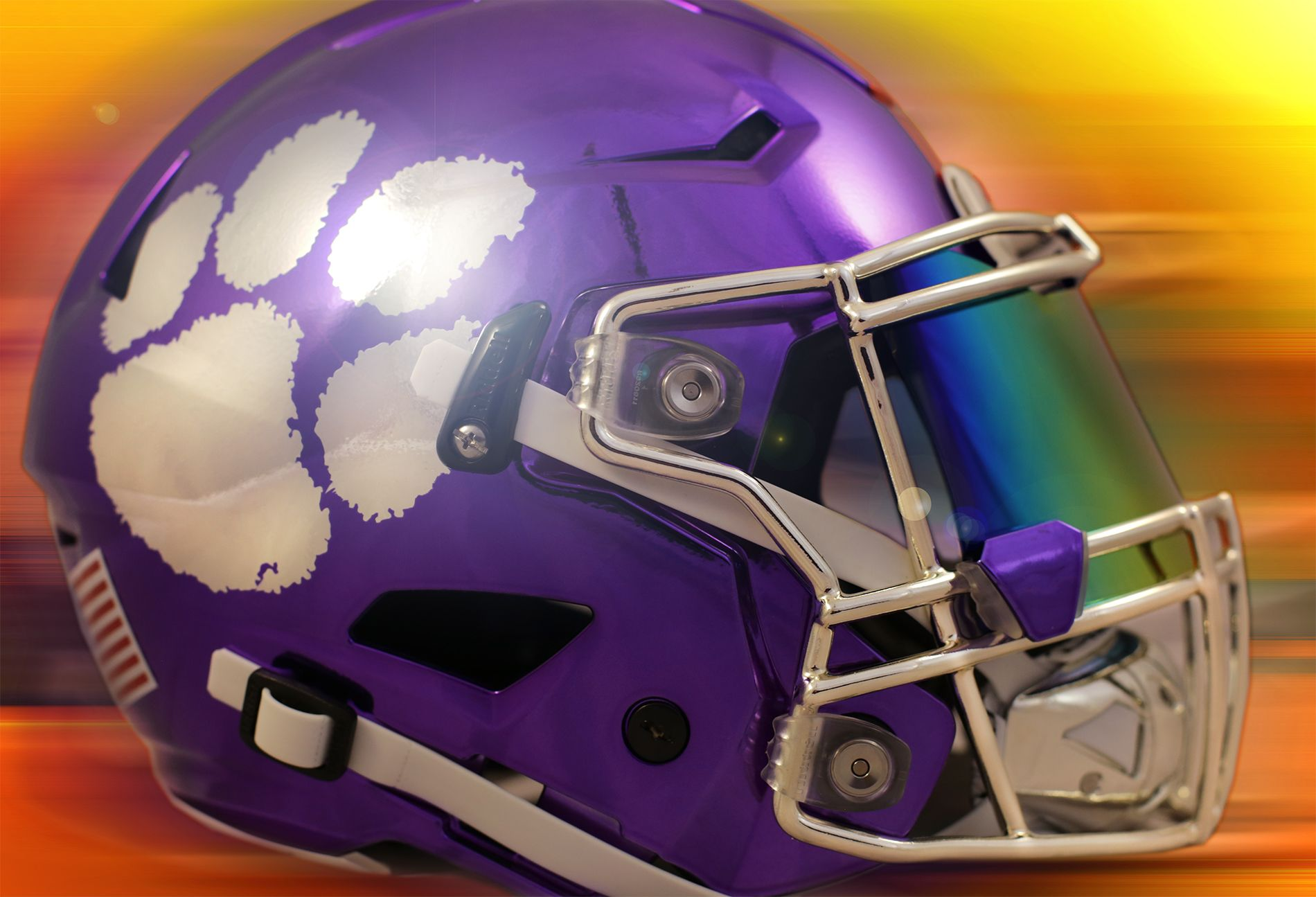 bcdd8c08 This is our custom SpeedFlex Clemson helmet all done up in chrome ...