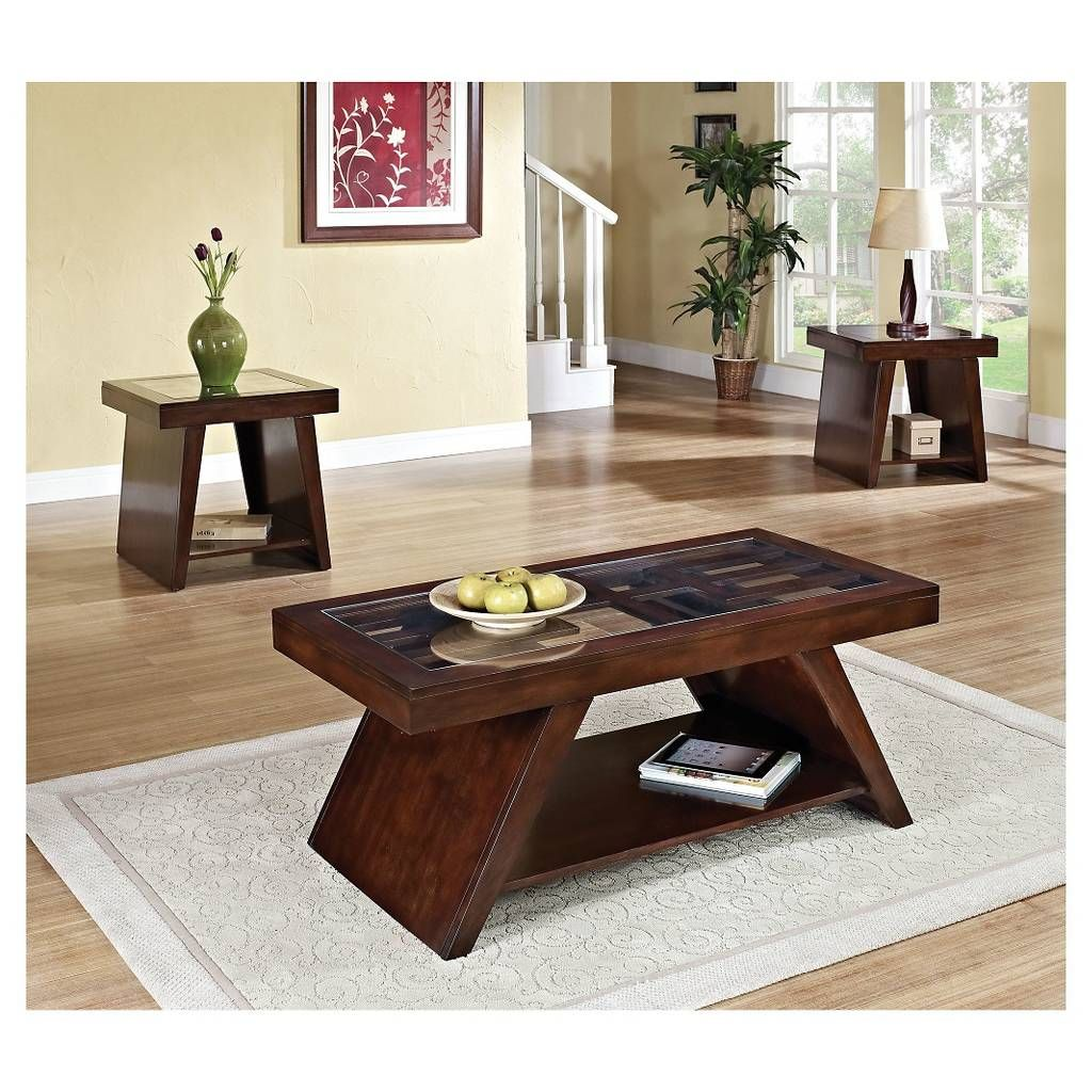 Acme jelani coffee table brown cherry image of home decor