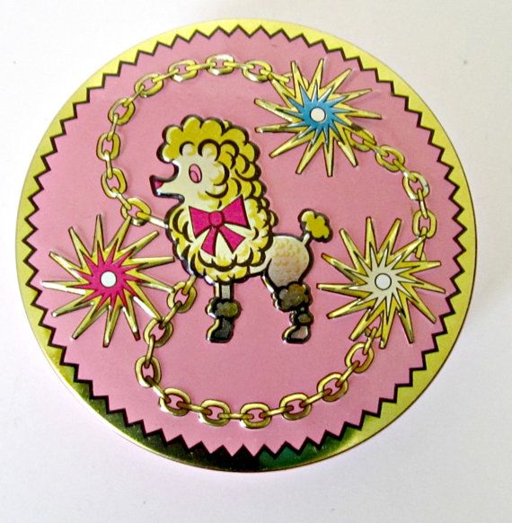 Vintage Pink Poodle Candy Tin England Small Tin Candy Container