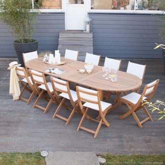 Salon de jardin 10 places en acacia : 1 table extensible + 10 ...