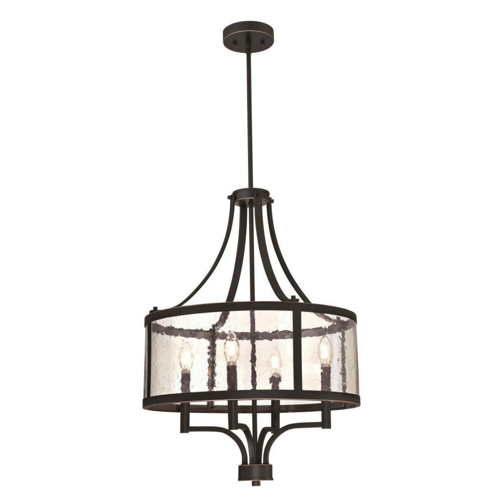 Westinghouse Belle View 4 Light Oil Rubbed Bronze With Highlights Chandelier With Clear Seeded Glass Drum Shade 6368400 The Home Depot Indoor Chandelier Industrial Pendant Lamps Oil Rubbed Bronze Chandelier