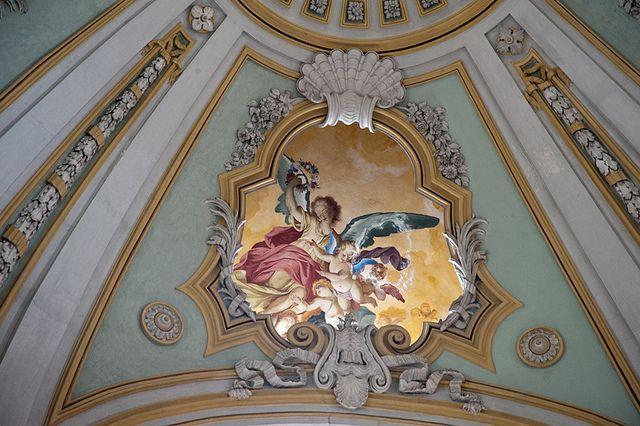 cartouche - fresco detail from dome of Chiesa di Santa Chiara, Bra (CN) Piedmont Italy    Photo by Jacqueline Possi  #Baroque #Interiors